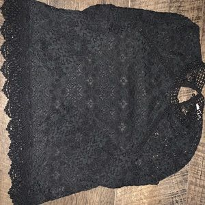 Black lined lace top